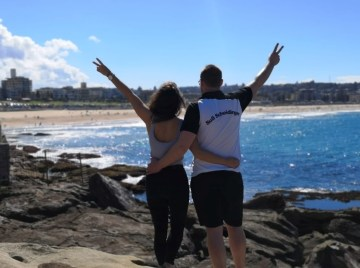 Charlotte Preker und Marco Hagedorn in Sydney Bondi Beach am 14.04.2019