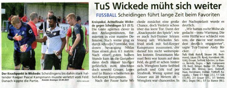 016 Anzeiger 1. Mannschaft Pokal-Aus 23.08.21