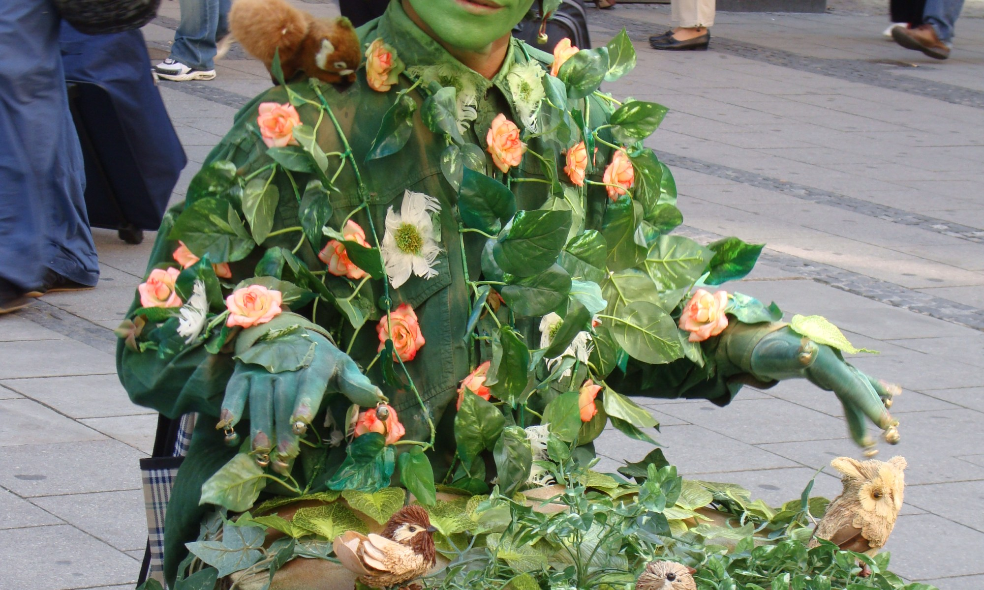 picture of the Green Man, street entertainer