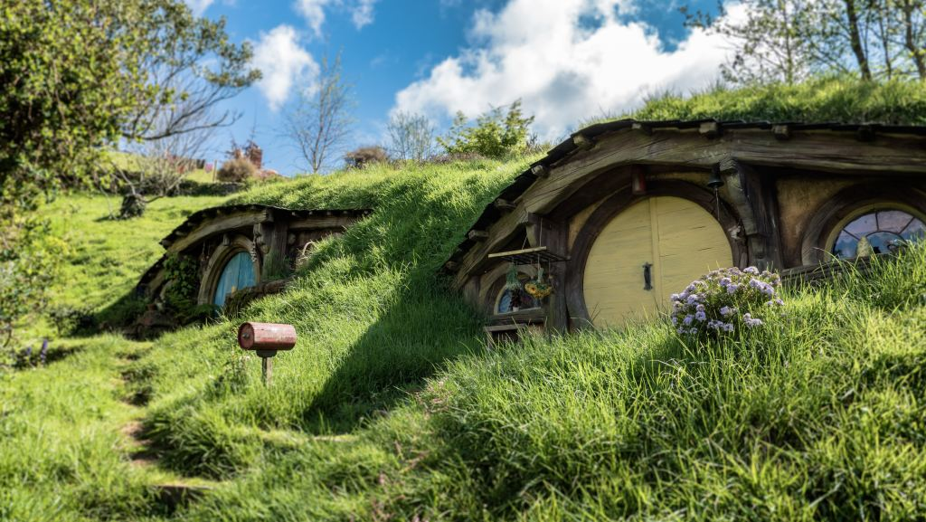 Hobbit houses in hillside.