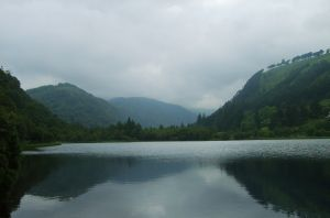 lake and mountains of Glendalough for a post on Holy in the Daily