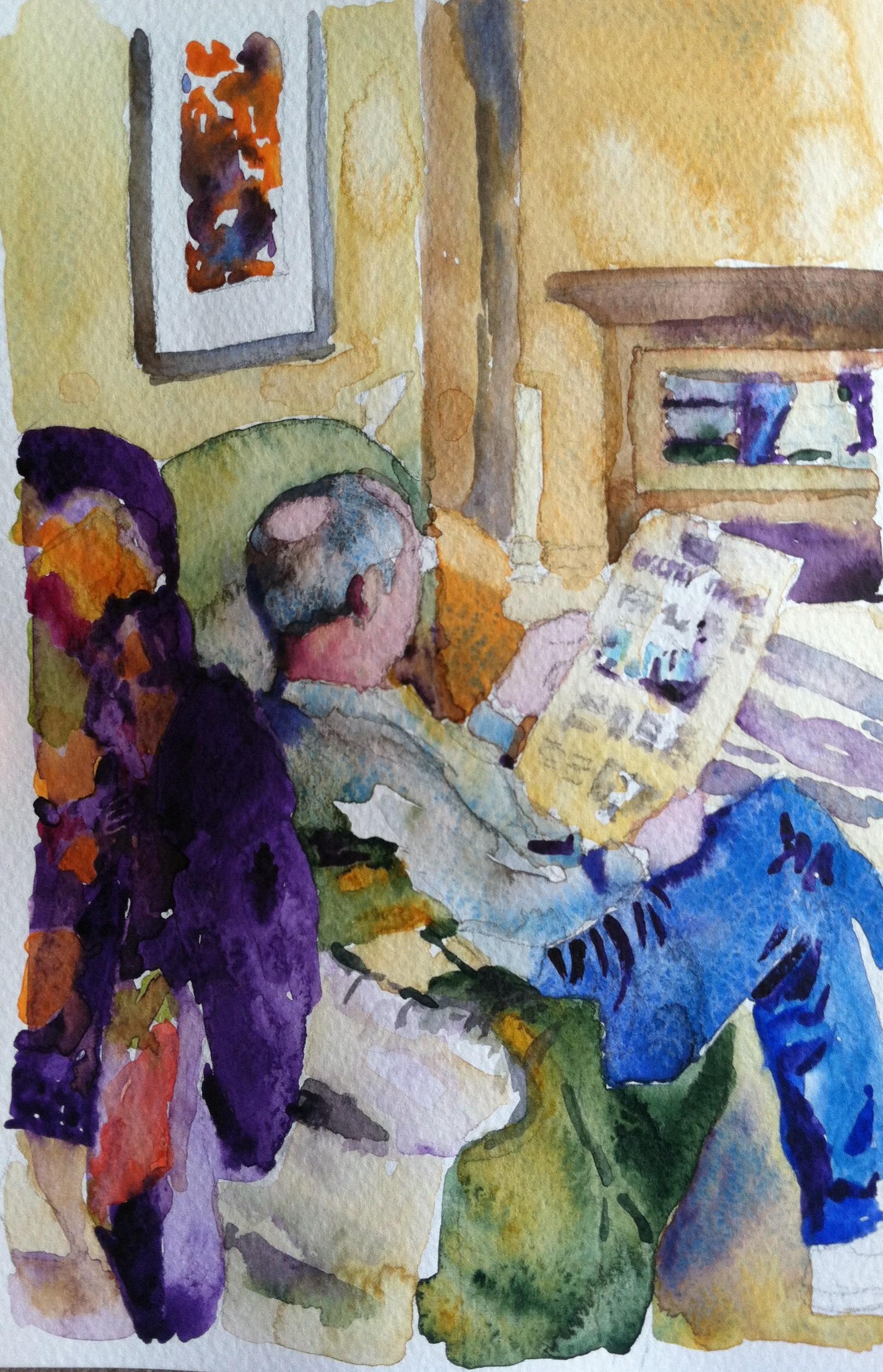 Watercolor art society houston tx - Morning Ritual 9 X 6 Watercolor Sketch Jan 23 2014