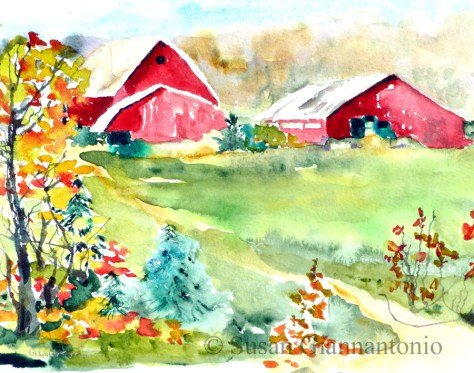"Sherman Farm sketch, 8 x 10"" watercolor on paper"