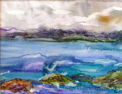 "Remembering Booth Bay, Maine Sketch, 8.5 x 11"" watercolor on paper"