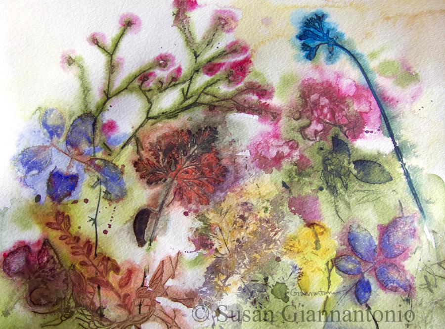 "Debbie's Garden 2, 15 x 11"" transparent watercolor on paper"