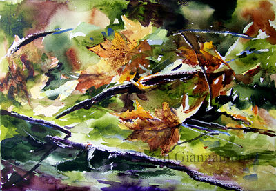 """Vernal Pool, Mayville; 14 x 20"""" transparent watercolor on rough paper"""