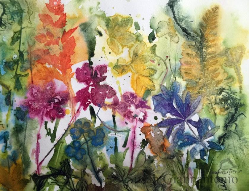 "Dream Garden 2, 2015, 16 x 10"" transparent watercolor botanical on paper"