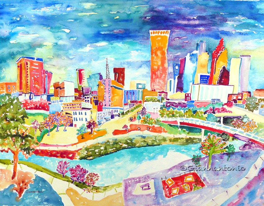 "Houston Whimsy, 22 x 30"" transparent watercolor on 300lb paper"