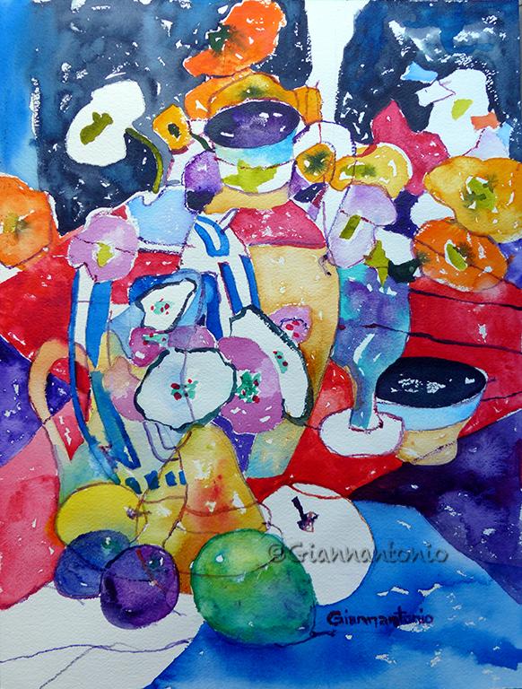 "Still Crazy Life, 16 x 12"" transparent watercolor on rough watercolor paper"