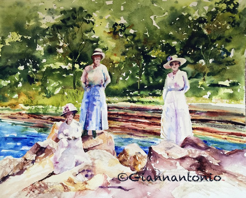 """Three of a Kind in the Glen, 16 x 20"""" transparent watercolor on watercolor board"""