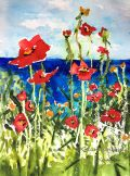 """Poppies at the Lake, 14 x 11"""" transparent watercolor on paper"""