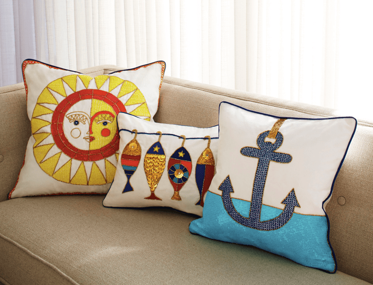 Côte d'Azur Anchor Throw Pillow, Jonathan Adler