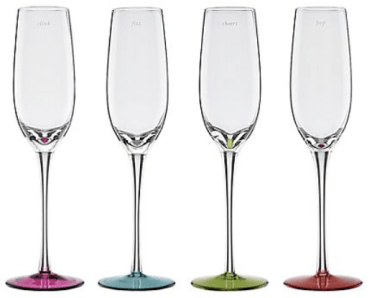 Say the Word Colored Flutes, Kate Spade (engravings read: clink, fizz, cheers, pop)