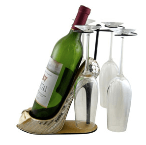 Sleek and Shiny Wine Bottle Glasses Holder Heel Ivory, Jewelry Nanny