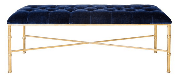 Gamine Hollywood Regency Silver Bamboo Navy Blue Velvet Bench, Kathy Kuo Home
