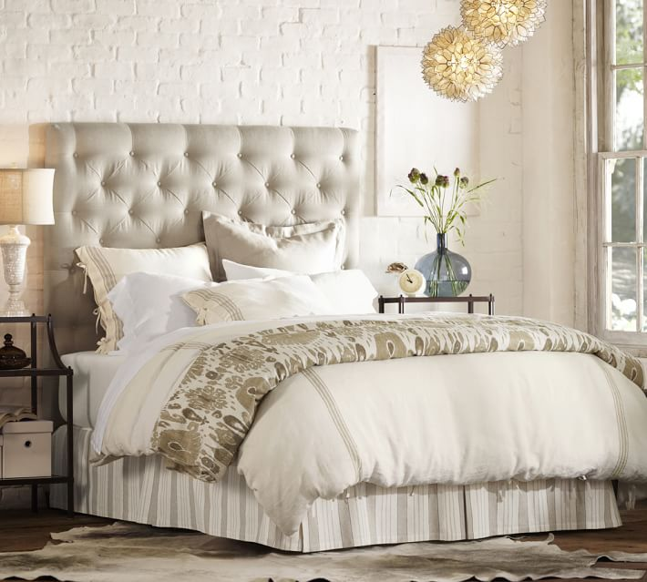 Lorraine Tufted Upholstered Tall Bed & Headboard, Pottery Barn