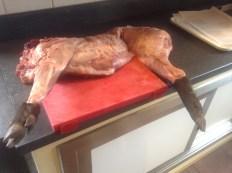 wild boar on the butcher block