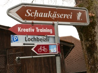 Signs like this led us to the Emmental Showcase Dairy in Affoltern-Im-Emmental