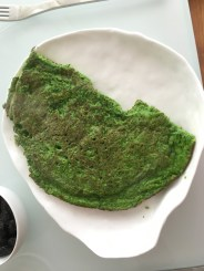 half-eaten wild garlic pancake, look at that brilliant color! So good.