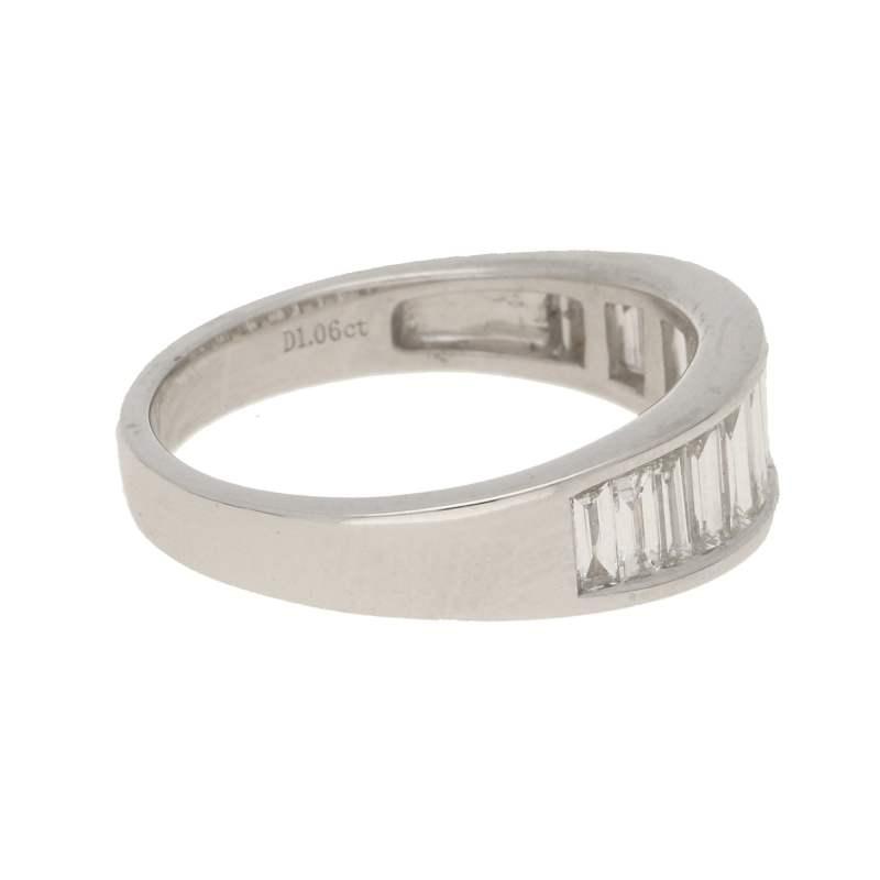 Graduated baguette-cut diamond half-eternity ring in white gold