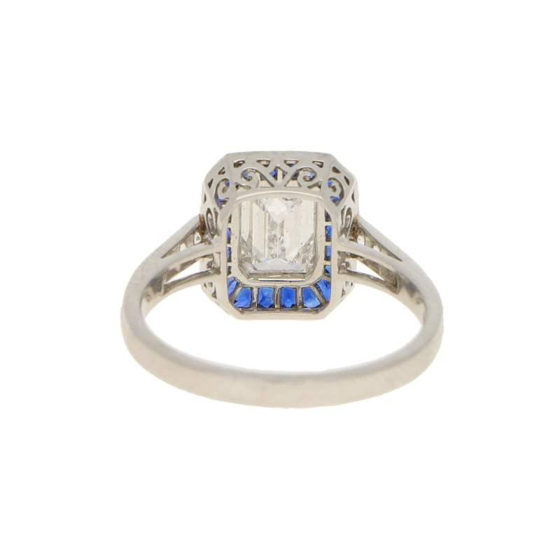 Emerald-Cut Diamond and Sapphire Target Ring