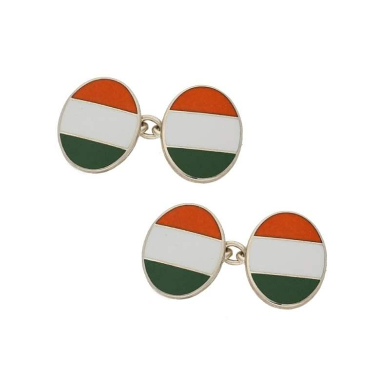 Irish flag chain link cufflinks