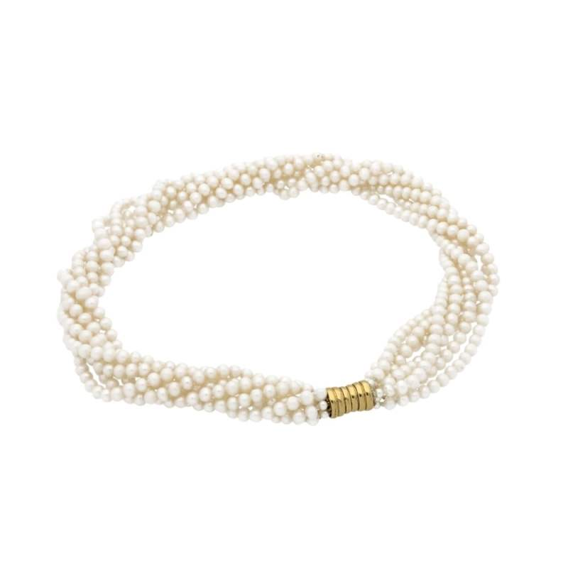 7 row freshwater pearl twist necklace