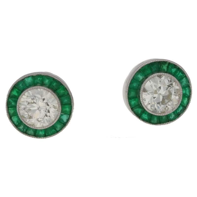 Diamond Emerald Stud Earrings
