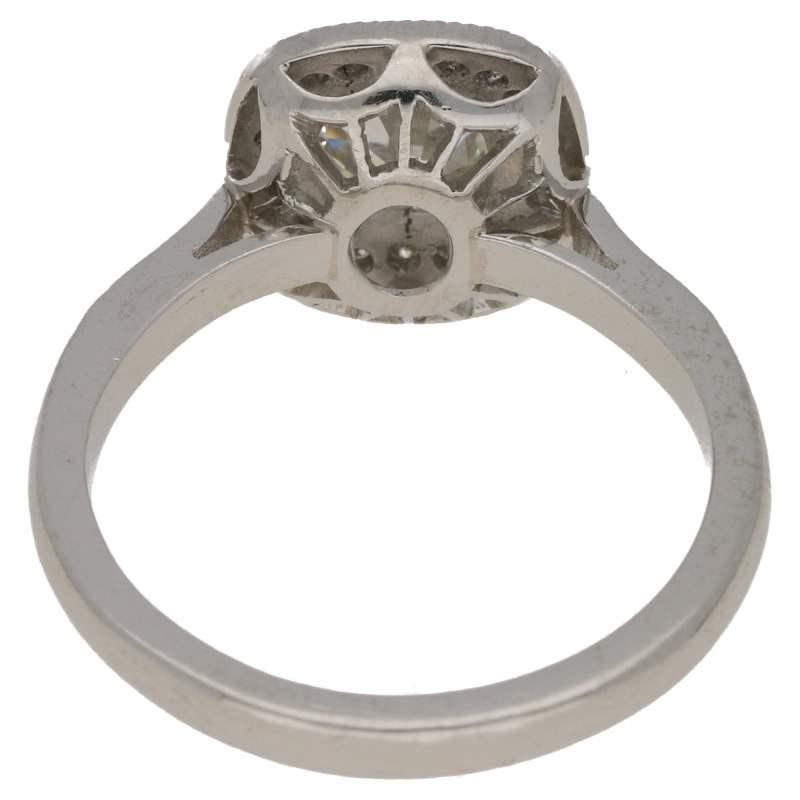 Old mine cut diamond engagement ring set in platinum