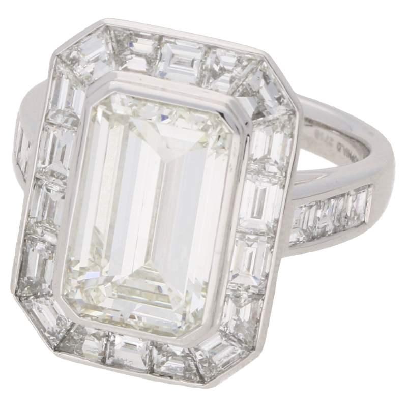 4.13ct Deco style emerald cut diamond ring