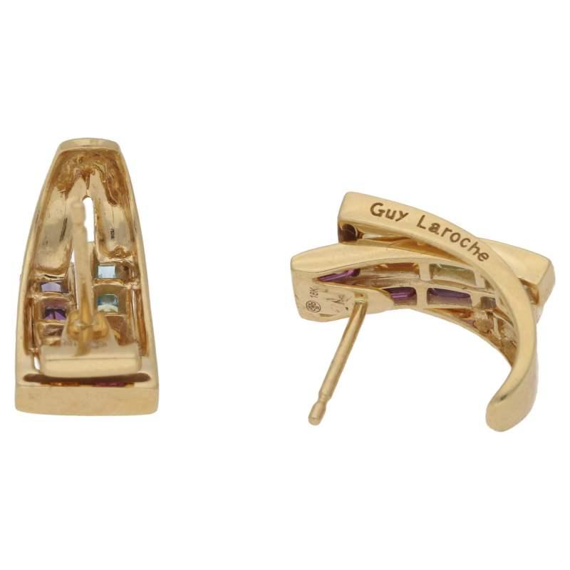 18k yellow gold multi-gem Guy Laroche earrings