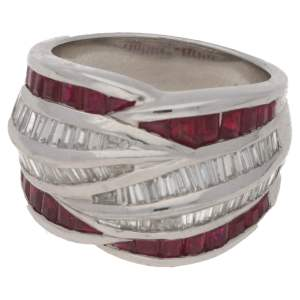 Platinum diamond and ruby dress ring