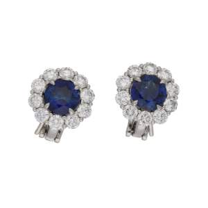 Platinum sapphire diamond cluster stud earrings