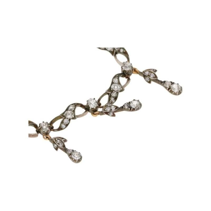 Victorian Old Mine Cut Diamond Drop Necklace