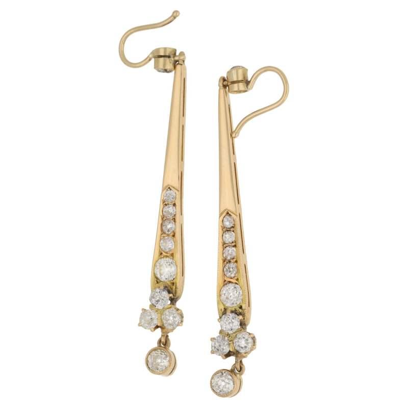 18k gold Old cut diamond long drop earrings