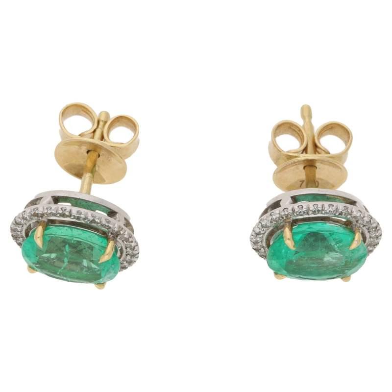 Colombian emerald and diamond stud earrings