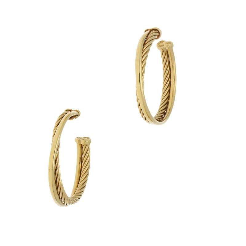 18 carat yellow gold David Yurman  hoop earrings