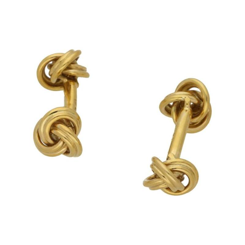 18k yellow gold solid bar knot cufflinks