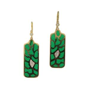 Green enamel diamond gold drop earrings