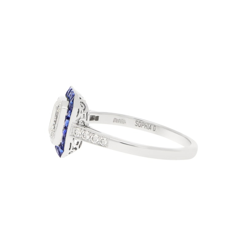 Art Deco-Style Emerald-Cut Diamond Sapphire Target Ring Platinum