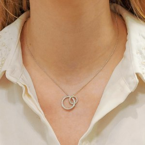 18ct gold diamond double linked circle necklace