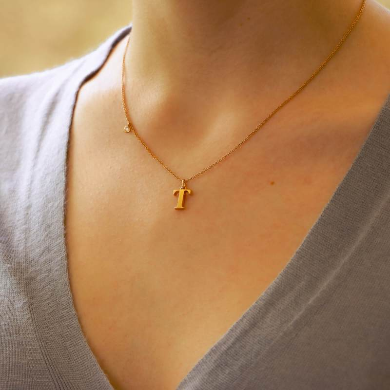 18ct rose gold letter T necklace with diamond detail