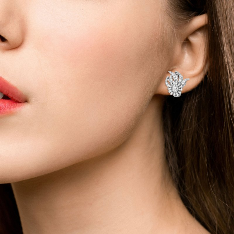 Art Deco Style Abstract Diamond Floral Cluster Earrings