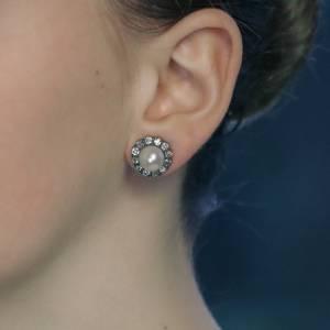 Victorian natural pearl mine cut diamond cluster earrings
