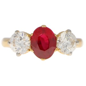 Ruby and Diamond Three-Stone Ring in Yellow Gold