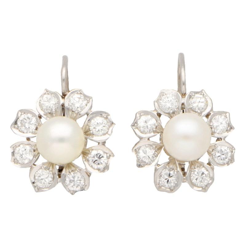 Vintage Akoya Pearl and Diamond Cluster Drops