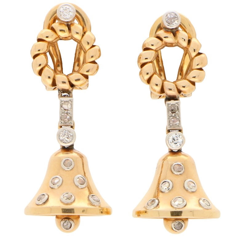 Victorian Old Cut Diamond Bell Drop Earrings, Circa 1900
