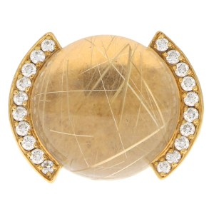 Vintage Cartier Rutilated Quartz and Diamond Ring