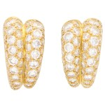 Diamond gold double hoop earrings