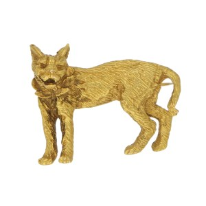 Lynx Cat Brooch Set in Solid Gold